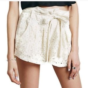 Free People Navy Blue Lace High Rise belted Shorts